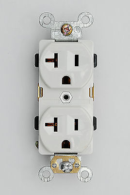 Industrial Grade Heavy Duty Receptacle 20A 125V Outlet 5-20R Plug 62080-W White