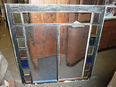 "LARGE QUEEN ANNE 19th century STAIN glass window frame sash 49.5 x 51 x 1.75"" #2"