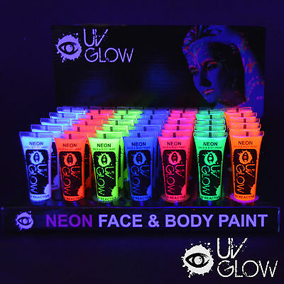 UV Glow Neon Face & Body Paint - 10ml Resale Pack of 24 - includes 8 Colours