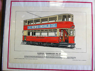 1908 LONDON TRANSPORT TRAM PICTURE - PRINTED 1966 LTD EDITION OF 1000 No12