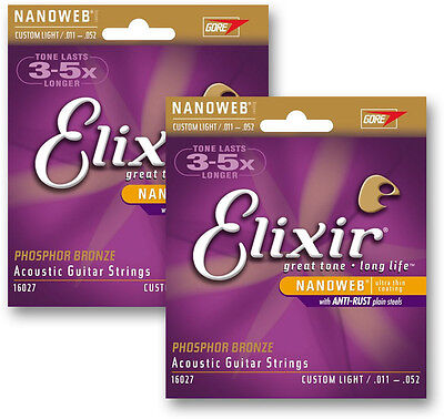 ELIXIR® 16027 NANOWEB PHOSPHOR BRONZE ACOUSTIC GUITAR STRINGS 11-52 (2-SETS)