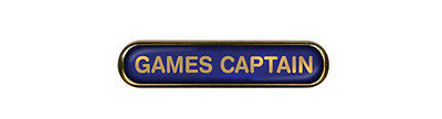 Games Captain School Badge (Bar) Resin Domed Choice of Colour (Gel Domed)