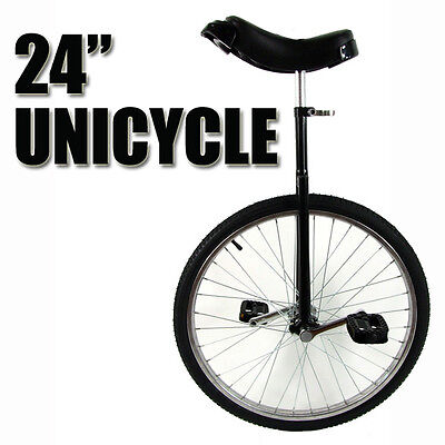 "Black 24"" Unicycle Fitness Pro Fun Uni Cycle Scooter Circus Bike Youth Adult"