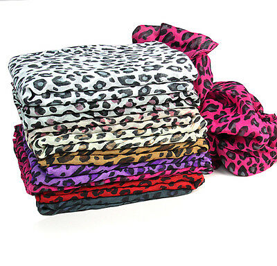 Small Flat Animal Leopard Print Shawl Stole Scarf  Wrap T8