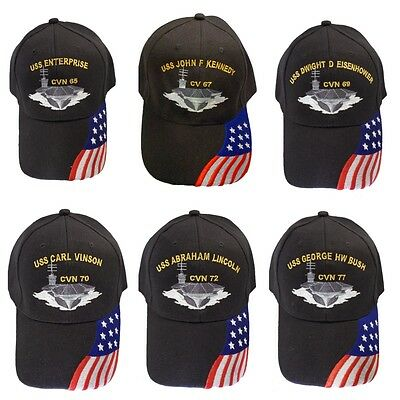Navy USS Aircraft Carrier Hat Cap with American Flag Embroidered in the USA