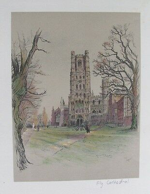 Old Print Cecil Aldin Ely Cathedral Cambridgeshire 1924 Original Vintage Colour