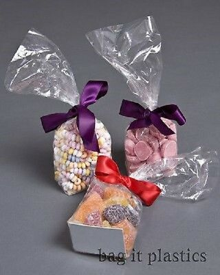 Cellophane Sweet Bags Block Bottom With Card Base Cello Clear Candy Food Safe