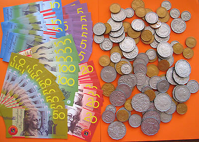 Realistic Australian Play Money Coins & Laminated Notes won't tear Bulk Lot