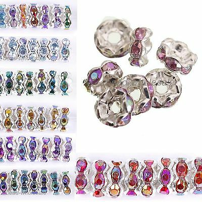 100pcs Silver Plated Czech Crystal Rhinestone Rondelle Spacer Beads 6mm