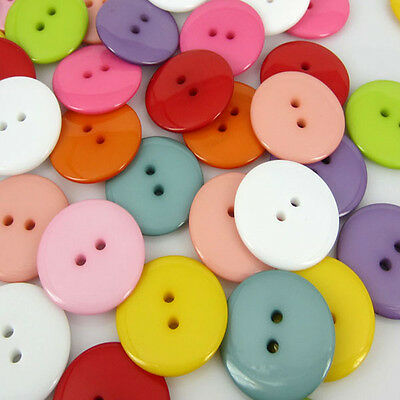100pcs Mixed Colors Round Resin Sewing Buttons Scrapbooking 23mm