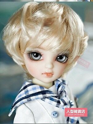 BJD Doll 1//6 6-79 Wig Short Afro Hair Fabric Fur Wig for Boy Girl Light Yellow