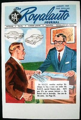 RACV ROYALAUTO Nostalgic Pop Art Picture Postcard 1959 Cover Reprint