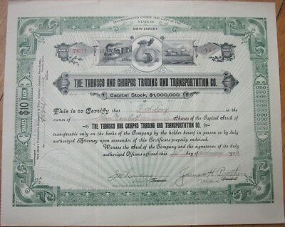 1906 Shipping Stock Certificate: Tabasco & Chiapas Trading & Transportation Co.