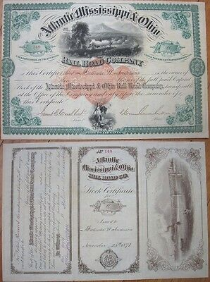 1871 Stock: 'Atlantic Mississippi & Ohio Railroad' w/WILLIAM MAHONE Autograph