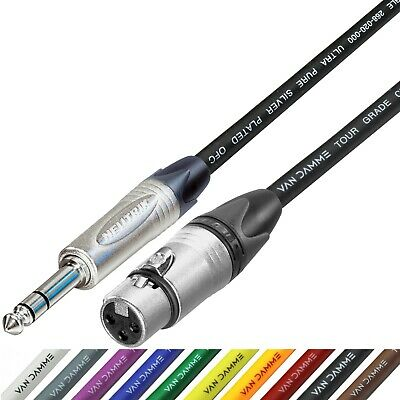 "Neutrik Balanced TRS 1/4"" Jack to Female XLR Lead Van Damme Cable 7 Colours"