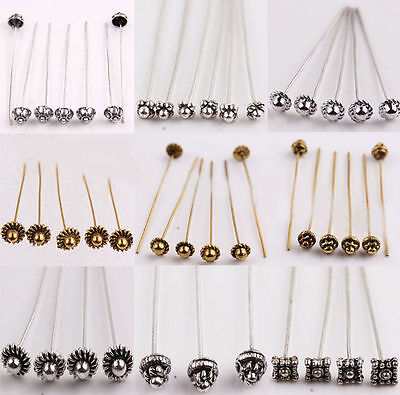 20pcs Silver Golden Plated Metal Head/Crown/Ball Pins Jewelry Finding 50mm