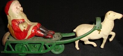 Old Vintage Winding Tin & Celluloid Santa Claus Toy from Japan 1930  Very Rare