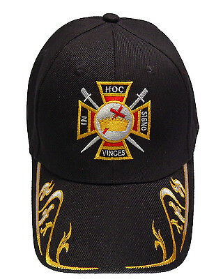 Knights Templar with Gold Trim Hat Cap Embroidered in USA 885RY-BLK