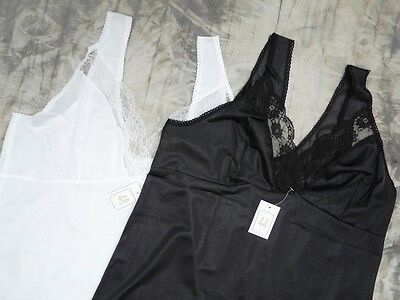 New Silky Full Length Slip With Lace Trim Black/white Size Uk 8-28