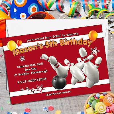 10 Personalised Ten Pin Bowling Birthday Party Invitations Invites N122
