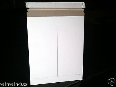 9 3/4 x 12 1/4 Mailer 200/lot White Paperboard Rigid Shipping Envelope Stayflats