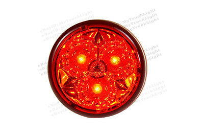 "2"" Round 3 Red LED lens Trailer Truck RV Clearance Marker Tail Brake Light"