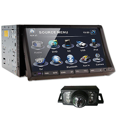 Double 2 Din In-Deck Car CD DVD Player 7'' Touch LCD A-TV Radio Stereo+CAMERA
