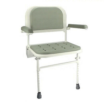 Wall Mounted folding fold down Shower Seat with padded arms and seat