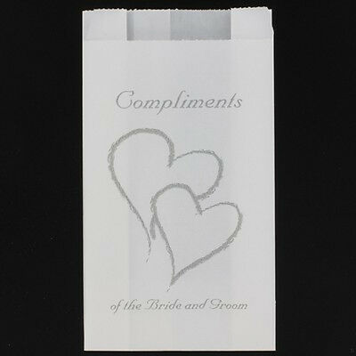 100 White Wedding twin silver heart paper cake bag compliment bride groom print