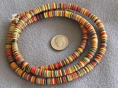 "32"" Str Vintage Vinyl African Trade Beads, Red Yellow Black 1x8mm"