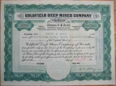 1927 Mining Stock Certificate: 'Goldfield Deep Mines Co.' - Nevada NV