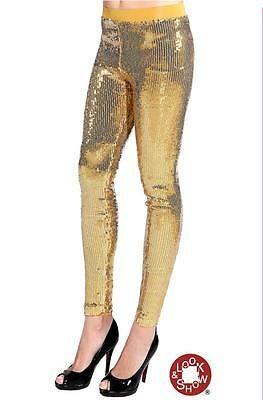 LEGGINGS PAILLETTES donna elegante sera party ORO - ARGENTO - NERO
