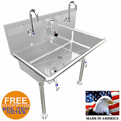 "Hand Sink 36"" 2 Users Multistation Hands Free With Legs Basin Lavabo Stainless S"