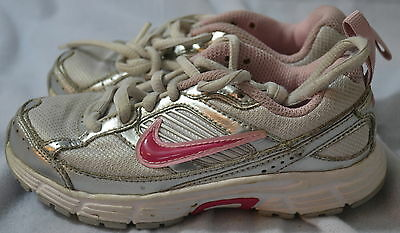 Girl's Pink Silver Nike  Sneakers Tennis Shoes Size sz 11