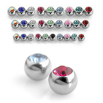 Spare Crystal Balls -  Belly / Nipple / Tragus / Labret / Eyebrow 1.2mm Thread