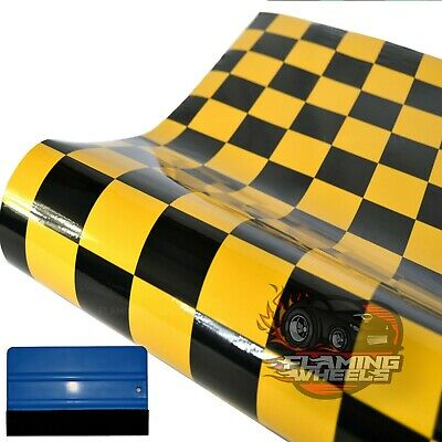 3m x 75cm chequered check wrap vinyl gloss BLACK & RED car sticker FREE SQUEEGEE