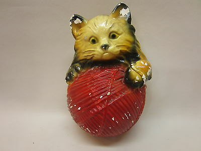 Kitten with Ball of String Holder Mid-Century Chalkware
