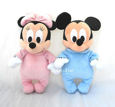 """Disney's Babies plush Minnie Mouse & Mickey Mouse 12"""" tall velour pj's Lot of 2"""