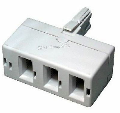 BT Telecom Treble Telephone Phone Fone Socket 3 way Adapter Splitter Fax Modem