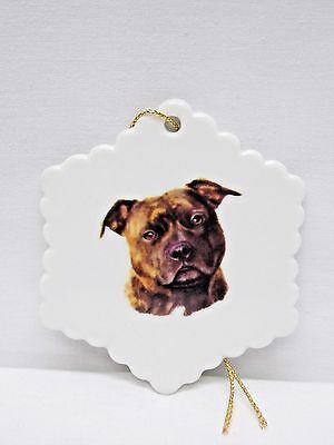 Staffordshire Bull Terrier Brindle Dog Snowflake Christmas Tree Ornament  Decal