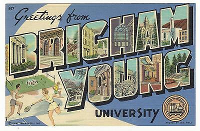 Large Letter Linen-Greetings From Brigham Young University,ut 1941