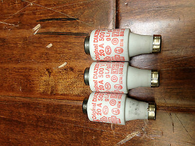 Original Diazed FUSE 5SB27 20AMP 500V TESTED