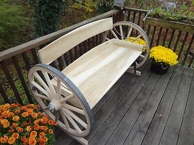 Wagon Wheel Bench. Rustic, Beautiful, Solid As A Rock. Built To Last For Decades