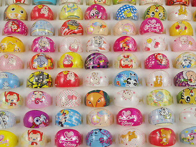 Wholesale Mix Lots semicircle children painted cartoon animals Rings hot