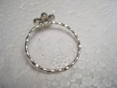 Vintage teen LOVE ring  with green crystal stone - adjustable