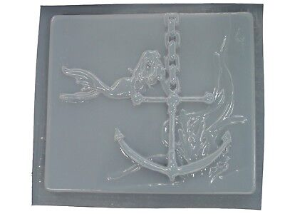 Mermaid Anchor Deep Sea Plaque Concrete or Plaster Stepping Stone Mold  7154