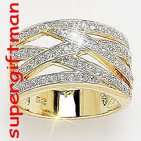 X050 - BAGUE OR DOUBLE AM. / ring goud  DIAMANTS CZ T66