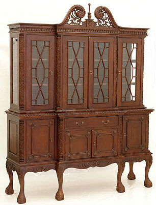 Chippendale Bookcase Mahogany Wood Victorian English Style Furniture Rack