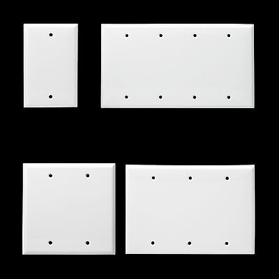 Unbreakable Plastic Blank Wall Switch Plate 1 2 3 4 Gang Outlet Cover White