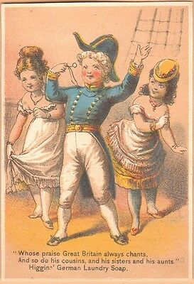 Victorian Trade Card-Higgins' Laundry Soap-Philadelphia, PA-Naval Offiicer